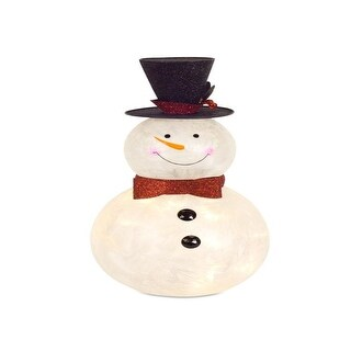 """Pack of 2 Cream White Snowman Glass Light/Timer Christmas Decorative Accents 16"""""""