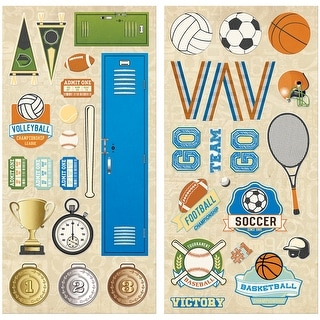 "Game On! Adhesive Chipboard Accents 6""X12"" 2/Pkg-"