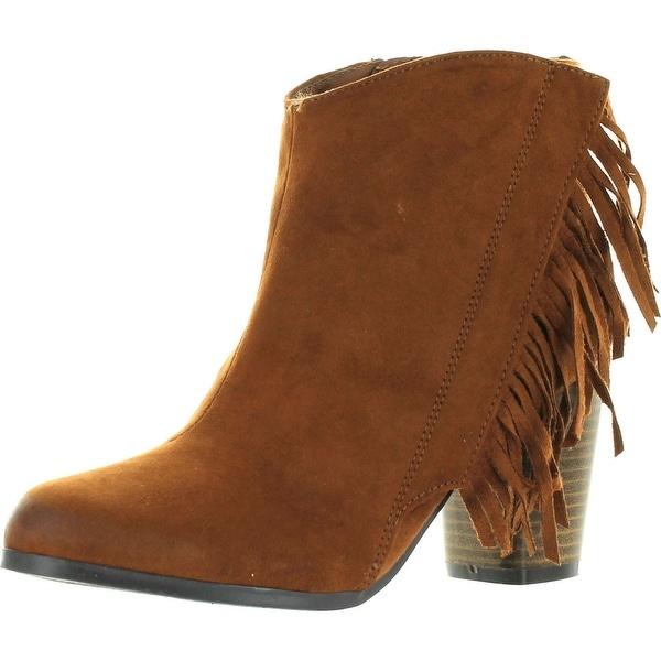 Qupid Sake-11 Womens Vegan Almond Toe Stacked Heel Fringe Western Ankle Booties - Rust - 5.5 b(m) us