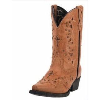 Laredo Western Boots Girls Cowboy 8 Inch Cross Studs Tan LC2283