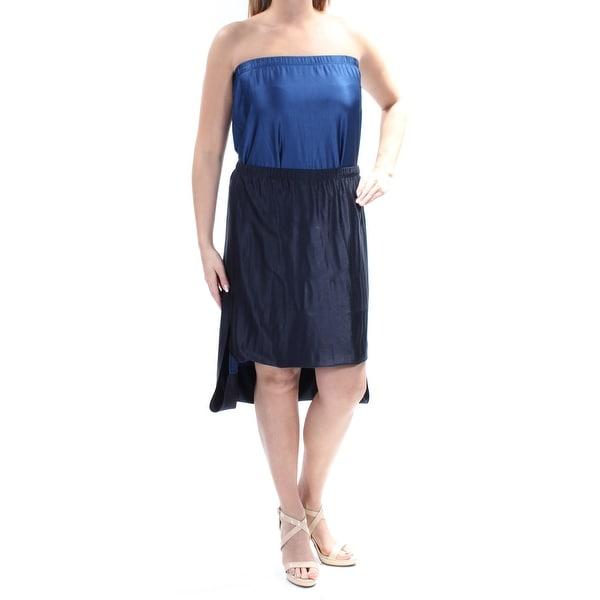 DKNY Womens Navy Convertible Below The Knee Hi-Lo Skirt Size: M