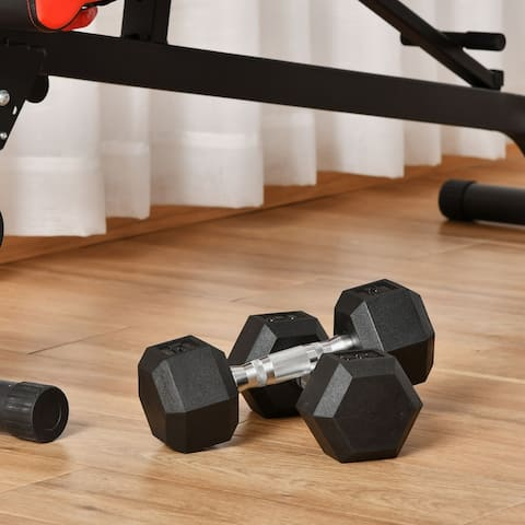 Soozier 24lbs Rubber Dumbbells Weight Set 12lbs Single Dumbbell Hand Weight Barbell for Body Fitness Training, Black