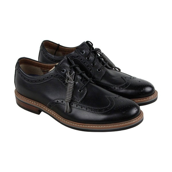 Clarks Armon Wing Mens Black Leather Casual Dress Lace Up Oxfords Shoes