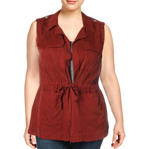 Sanctuary Womens Vest Tie Waist Sleeveless - Russt Red - XL