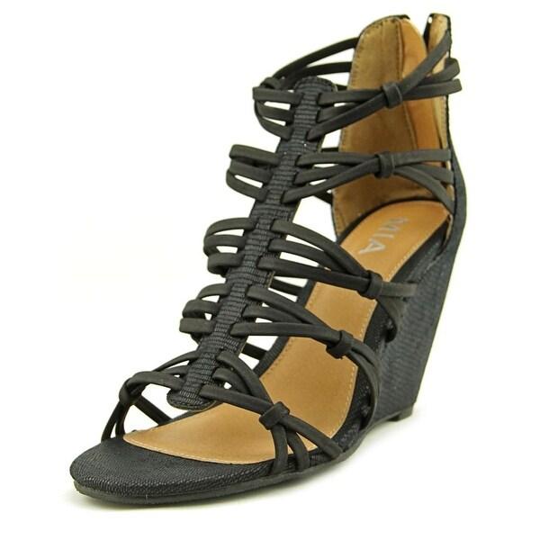 Mia Dylon Women Open Toe Synthetic Black Wedge Sandal