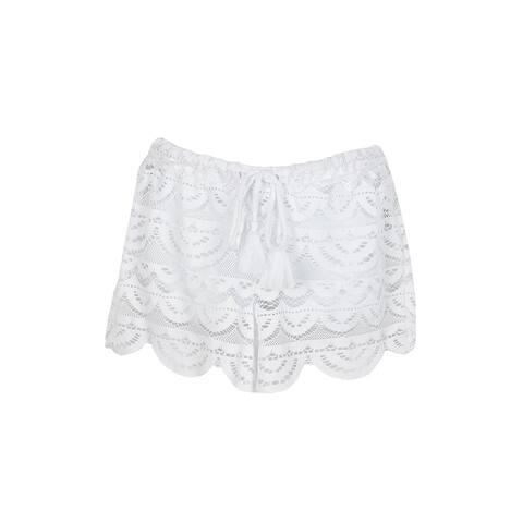 Miken Swim White Crochet Scalloped Cover-Up Shorts XS