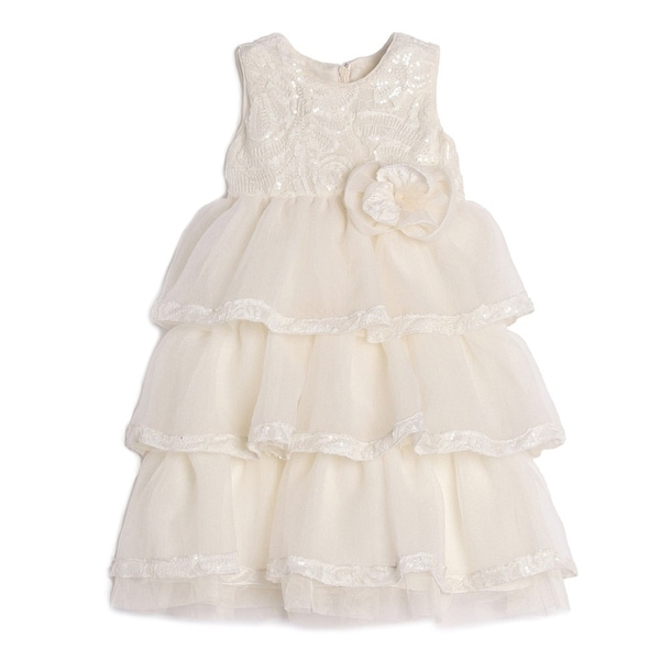 Isobella & Chloe Baby Girls Light Pink Lace Ruffle Special Occasion Dress