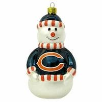 chicago bears blown glass snowman christmas tree ornament - Chicago Christmas Ornament