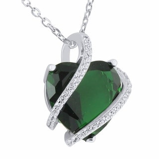 Green Ruby CZ Heart Solitaire Pendant Sterling Silver Simulated Diamond Necklace