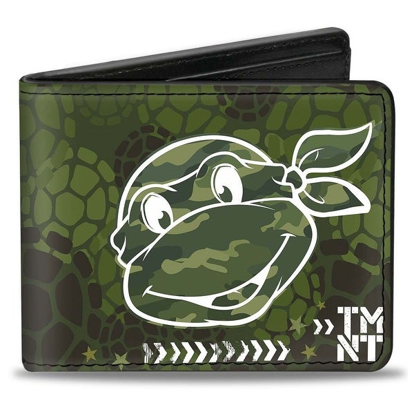 Classic Turtle Face Close Up Outline Tmnt Turtle Shell Camo Olive White Bi Bi-Fold Wallet - One Size Fits most