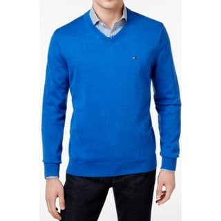 Tommy Hilfiger NEW Blue Mens Size 2XL Stretch Knit V-Neck Sweater
