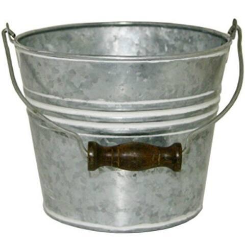 "Robert Allen MPT01626 Banded Metal Planter w/ Handle, Galvanized/White Wash, 6"""
