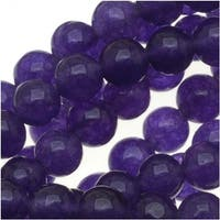 Deep Purple Candy Jade 4mm Round Beads (15.5 Inch Strand)