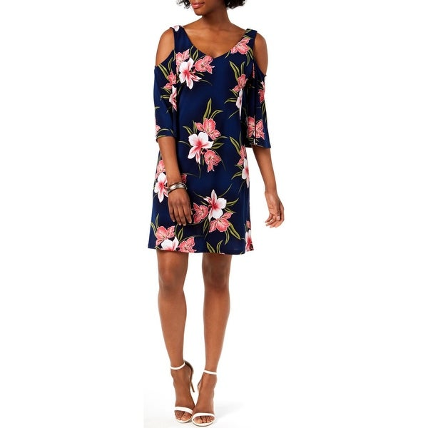 Connected Apparel Womens Party Dress Cold Shoulder Floral Print