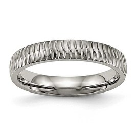 Titanium Polished Textured Ring (4 mm)