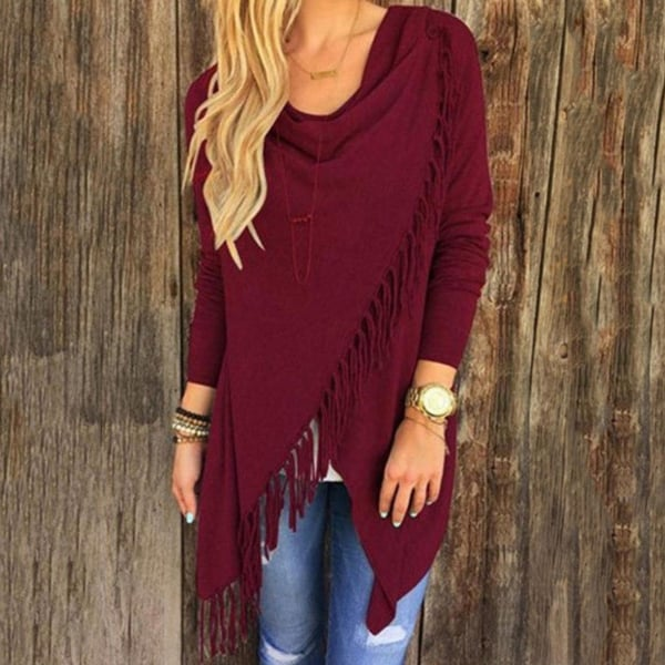 Casual Women Long Sleeve Solid Tassel Slash Blouse Tops Shirt Blouse. Opens flyout.
