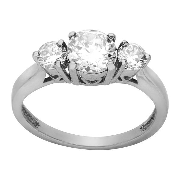 White Cubic Zirconia Ring in Stainless Steel