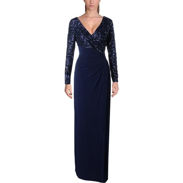 Lauren Ralph Lauren Womens Lylina Evening Dress Sequined High Waist