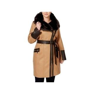 Via Spiga Womens Plus Long Coat Winter Wool Blend