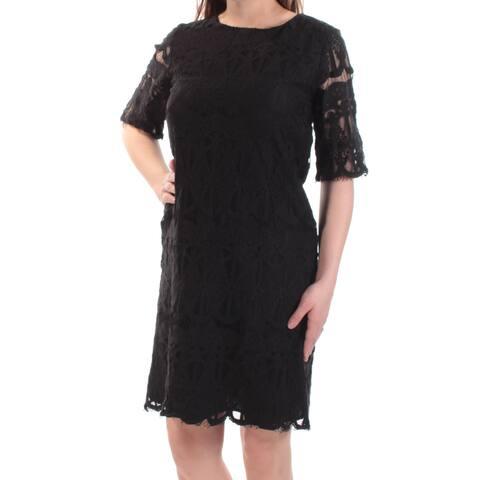 93832970d91d BCBGENERATION Womens Black Lace Short Sleeve Jewel Neck Knee Length Shift Dress  Size: XS