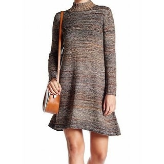 Max Studio NEW Brown Womens Size Small S Space-Dyed Mock Sweater Dress