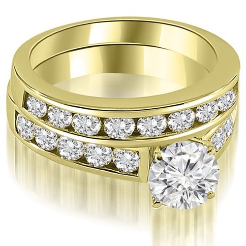 2.60 cttw. 14K Yellow Gold Cathedral Channel Set Round Cut Diamond Bridal Set
