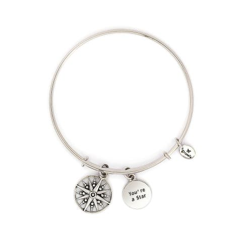 You'Re A Star Adjustable Charm Bangle Bracelet, Silver Rhodium Plated