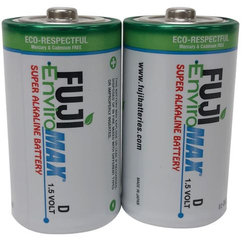 Fuji Batteries 4100BP2 EnviroMax D Super Alkaline Batteries, 2 pk