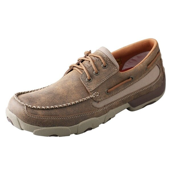 Twisted X Casual Shoes Mens Driving Mocs Red Buckle Bomber - bomber brown