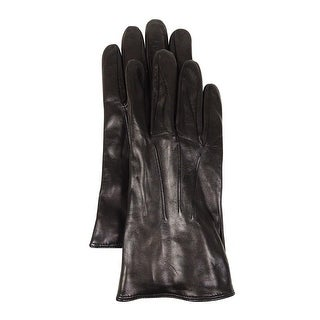 Grandoe Men's Knit-Lined Touchscreen Leather Gloves (M, Black) - Black - M