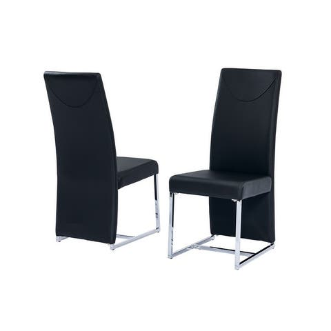 Best Master Furniture Leather with Chrome Dining Side Chairs (Set of 2)