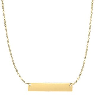 Mcs Jewelry Inc 14 KARAT YELLOW GOLD SIDEWAYS ENGRAVABLE BAR PENDANT NECKLACE (18 INCHES)