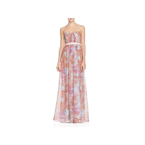 BCBG Max Azria Womens Amber Evening Dress Belted Maxi