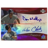 Don Mattingly Will Clark Signed 2005 UD Dual Signature Reflections 32/99 Card