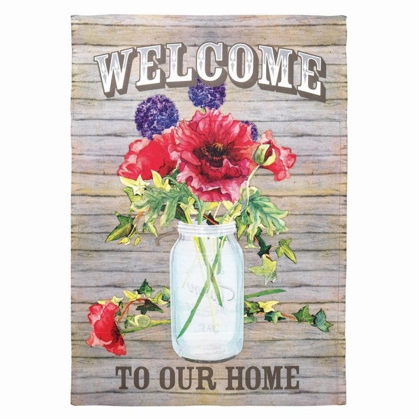 """Brown and Red Mason Jar with Poppies Printed Garden Flag 18"""" x 13"""" - N/A"""