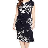 Rachel Roy Blue Women's Size 2X Plus Ruch Floral Sheath Dress