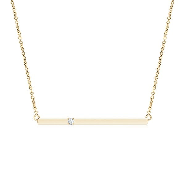 Angara 1.9mm Solitaire Diamond Bar Pendant Necklace in 14K Yellow Gold - White H-I
