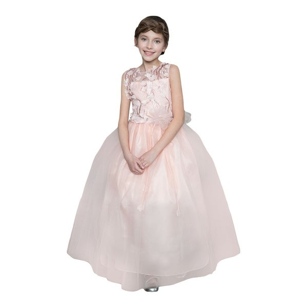 82a41b2ccee7b Girls Blush Pink 3D Flowers Bow Junior Bridesmaid Dress