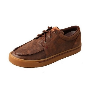 HOOey Casual Shoes Mens Lace Up Rubber Leather Round Brown MHYC009