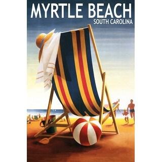 Myrtle Beach, SC Beach Chair and Ball - LP Artwork (100% Canvas Tote Bag Gusset