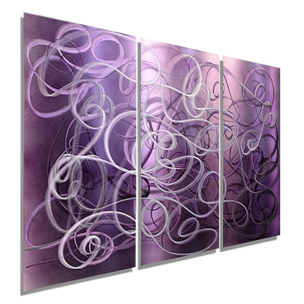 Statements2000 Purple 3-Panel Contemporary Metal Wall Art Painting by Jon Allen - Confused Passion