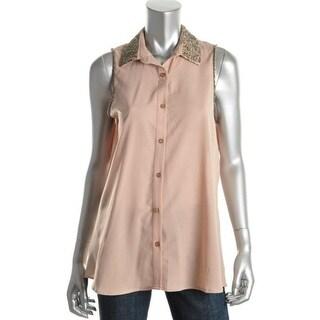 Nikkie's Threads Womens Beaded Chiffon Button-Down Shirt - M