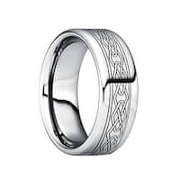 POMPILIUS Engraved Black Celtic Knot Tungsten Wedding Ring with Polished Finish by Crown Ring - 6mm