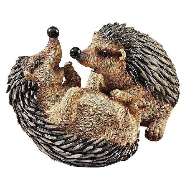 "7.5"" Playing Hedgehogs Outdoor Garden Statue - N/A"