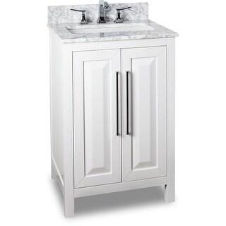 Jeffrey Alexander VAN104-24-T 24 Inch Single Free Standing Vanity Set with Hardwood Cabinet, Marble Top, and Rectangular