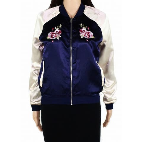 Material Girl Womens Jacket Blue Size Small S Embroidered Floral Bomber