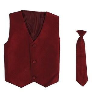 Baby Boys Burgundy Poly Silk Vest Necktie Special Occasion Set 3-24M
