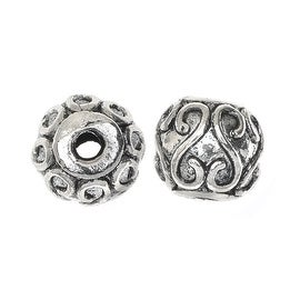 Lead-Free Pewter Beads, Round With S Design 9mm, 6 Pieces, Antiqued Silver