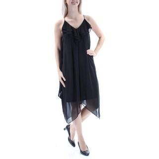 MSK $79 Womens New 1029 Black Ruffled Spaghetti Strap V Neck Trapeze Dress 4 B+B