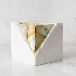 "Oro Stone Paperweight with Mother of Pearl Detail - 4"" x 4"" x 4"""